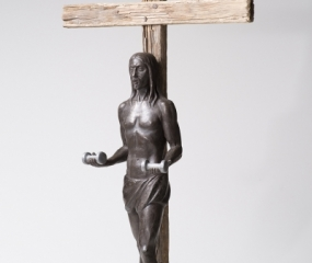 Cross training with Jesus-Curls Sculpture By Shelly Fireman