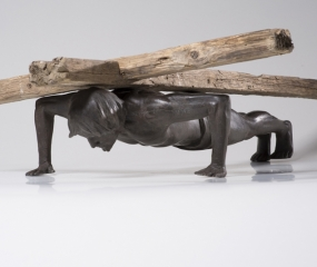 Cross-training-with-Jesus-Pushups-Sculpture By Shelly Fireman