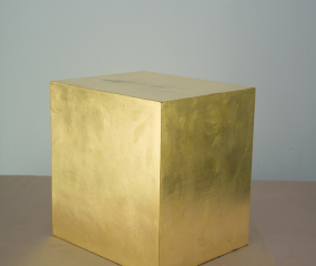 Gold Cube Sculpture by Shelly Fireman