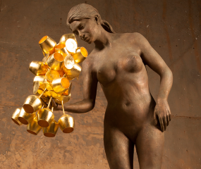 Golden Goblets Sculpture by Shelly Fireman