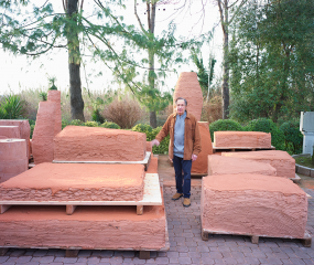 Shelly Fireman with clay slabs