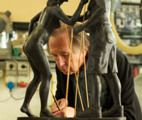 Shelly Fireman at work in his studio